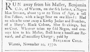 Nov 17 1770 - Providence Gazette Slavery 3