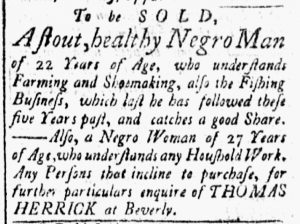 Nov 20 1770 - Essex Gazette Slavery 1