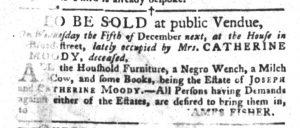 Nov 20 1770 - South-Carolina Gazette and Country Journal Slavery 1