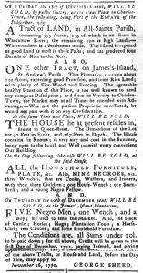 Nov 20 1770 - South-Carolina Gazette and Country Journal Slavery 2