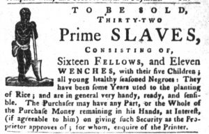 Nov 20 1770 - South-Carolina Gazette and Country Journal Slavery 3