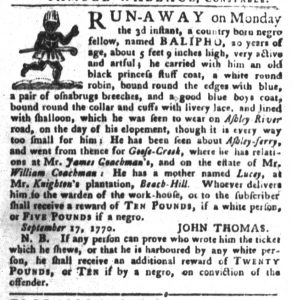 Nov 20 1770 - South-Carolina Gazette and Country Journal Slavery 4