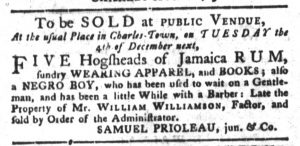 Nov 20 1770 - South-Carolina Gazette and Country Journal Slavery 5
