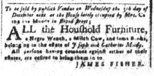Nov 20 1770 - South-Carolina and American General Gazette Slavery 1