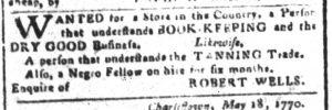 Nov 20 1770 - South-Carolina and American General Gazette Slavery 4