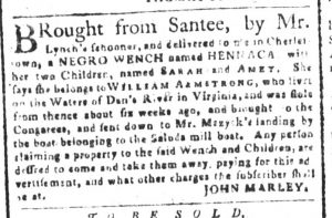 Nov 20 1770 - South-Carolina and American General Gazette Slavery 6