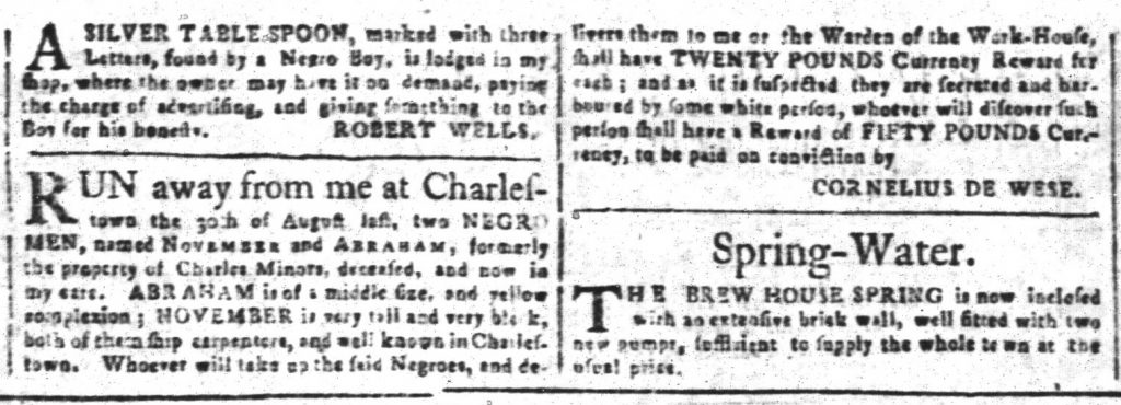 Nov 20 1770 - South-Carolina and American General Gazette Slavery 8