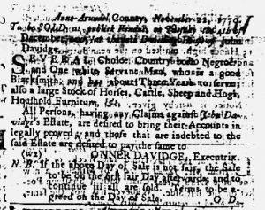 Nov 22 1770 - Maryland Gazette Slavery 1