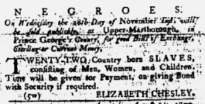 Nov 22 1770 - Maryland Gazette Slavery 2