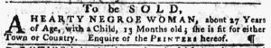 Nov 22 1770 - Pennsylvania Gazette Slavery 1