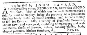Nov 22 1770 - Pennsylvania Journal Slavery 1