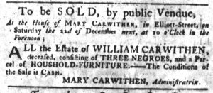 Nov 22 1770 - South-Carolina Gazette Slavery 1