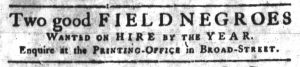 Nov 22 1770 - South-Carolina Gazette Slavery 3