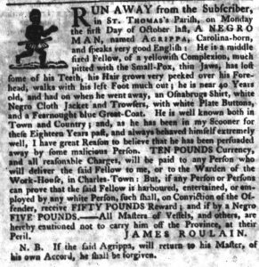 Nov 22 1770 - South-Carolina Gazette Slavery 4