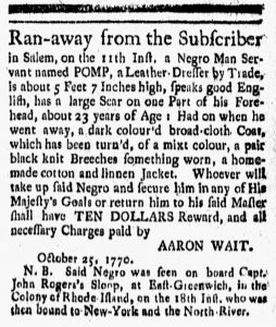 Nov 23 1770 - New-London Gazette Slavery 1