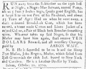 Nov 24 1770 - Providence Gazette Slavery 1