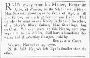 Nov 24 1770 - Providence Gazette Slavery 2