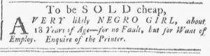 Nov 24 1770 - Providence Gazette Slavery 3