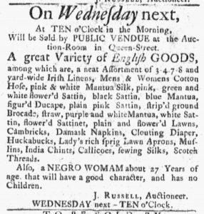 Nov 26 1770 - Massachusetts Gazette and Boston Post-Boy Slavery 1