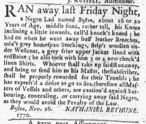 Nov 26 1770 - Massachusetts Gazette and Boston Post-Boy Slavery 2