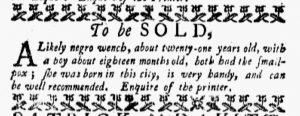 Nov 26 1770 - New-York Gazette and Weekly Mercury Supplement Slavery 3