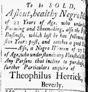 Nov 27 1770 - Essex Gazette Slavery 2