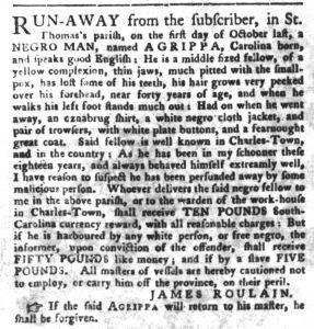 Nov 27 1770 - South-Carolina Gazette and Country Journal Slavery 1