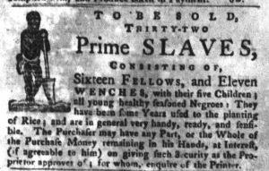 Nov 27 1770 - South-Carolina Gazette and Country Journal Slavery 5