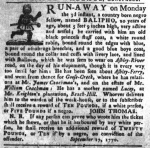 Nov 27 1770 - South-Carolina Gazette and Country Journal Slavery 6