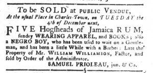 Nov 27 1770 - South-Carolina Gazette and Country Journal Slavery 8