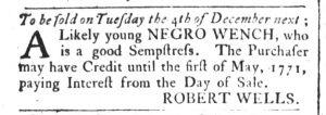 Nov 27 1770 - South-Carolina and American General Gazette Slavery 1