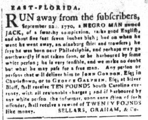 Nov 27 1770 - South-Carolina and American General Gazette Slavery 10
