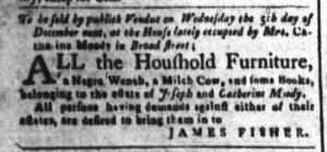 Nov 27 1770 - South-Carolina and American General Gazette Slavery 3