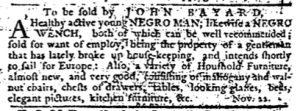 Nov 29 1770 - Pennsylvania Journal Slavery 1