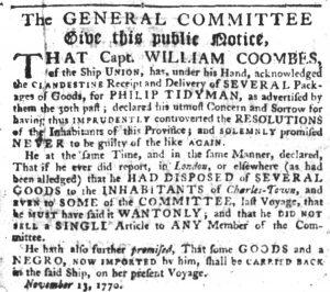 Nov 29 1770 - South-Carolina Gazette Slavery 1