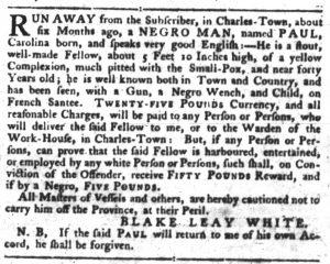 Nov 29 1770 - South-Carolina Gazette Slavery 3