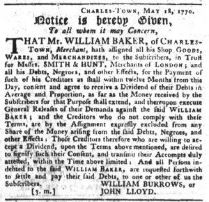 Nov 29 1770 - South-Carolina Gazette Slavery 6