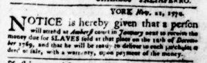Nov 29 1770 - Virginia Gazette Purdie & Dixon Slavery 2