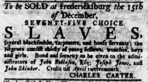 Nov 29 1770 - Virginia Gazette Rind Slavery 1