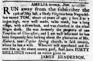 Nov 29 1770 - Virginia Gazette Rind Slavery 2