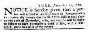 Nov 29 1770 - Virginia Gazette Rind Slavery 4