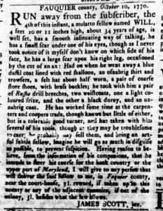 Nov 29 1770 - Virginia Gazette Rind Slavery 6