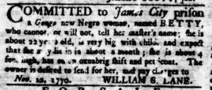 Nov 29 1770 - Virginia Gazette Rind Slavery 7