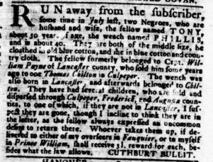 Nov 29 1770 - Virginia Gazette Rind Slavery 9