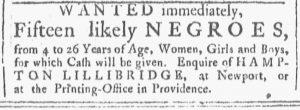 Nov 3 1770 - Providence Gazette Slavery 1