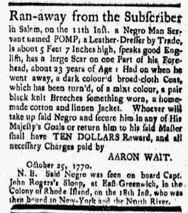 Nov 30 1770 - New-London Gazette Slavery 1