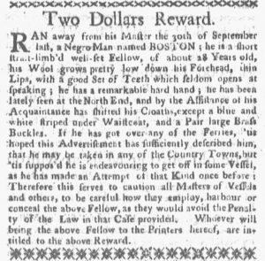 Nov 5 1770 - Boston-Gazette Slavery 1