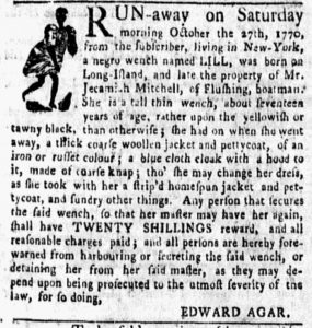 Nov 5 1770 - New-York Gazette and Weekly Mercury Slavery 2