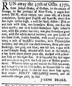 Nov 5 1770 - New-York Gazette and Weekly Mercury Slavery 3