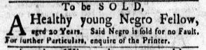 Nov 5 1770 - New-York Gazette and Weekly Mercury Supplement Slavery 1
